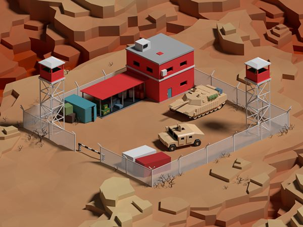 Low poly base in canyons on Behance