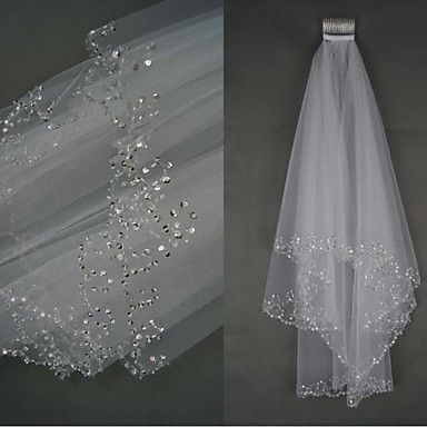 Bride Wedding Dress Veil Two-tier Fingertip Veils Beaded Hand-beaded Edge – USD $ 27.99