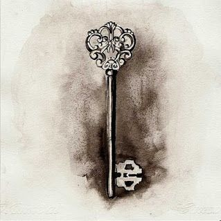 Skeleton Key Tattoo Meaning › Thought Bubbles Vintage Skeleton Key Tattoo Design