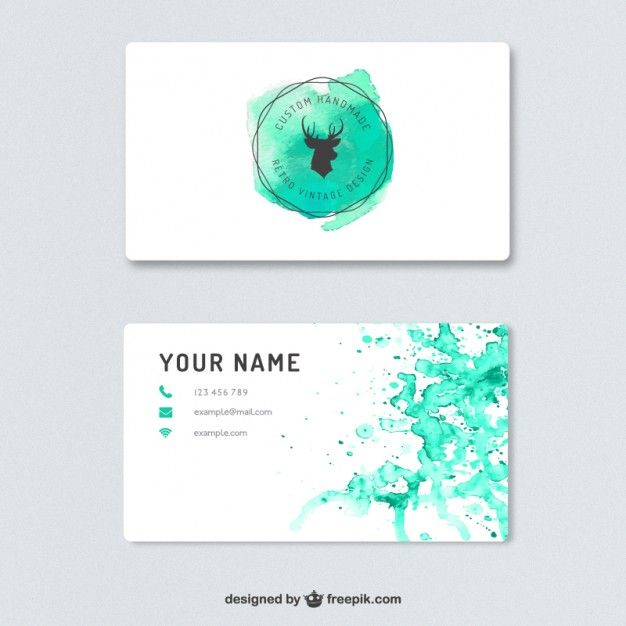 3451 best business card images on pinterest business cards business card with watercolor splashes free vector reheart Gallery