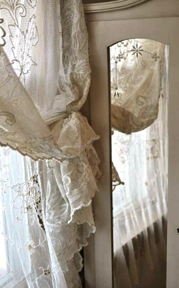 Beautiful cream vintage curtain and armoire