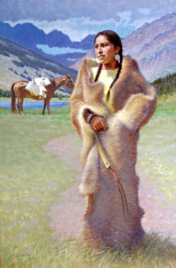 "Award-winning Native American Indian, cowboy and Western artist Tom Saubert's ""Mountain Song,"" a fine art Western art painting of a Native American Squaw woman wrapped in furs with horse"