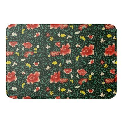 Pink White Yellow Flowers on Green Background Bathroom Mat - flowers floral flower design unique style