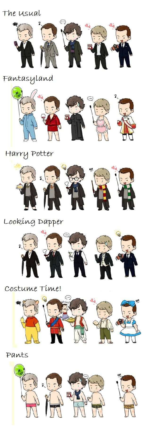 This is glorious!! Chibis on parade; courtesy of ~bennai on deviantArt Cast of Sherlock - Imgur