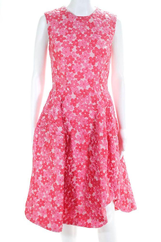 5078bd5376f9 Simone Rocha Sleeveless Scoop Neck A Line Dress Floral Cloque Pink Size UK  8 #fashion