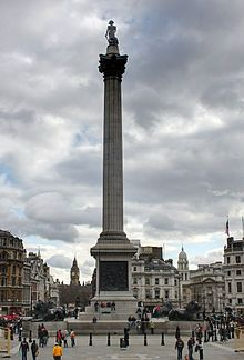 Nelson's Column is a monument in Trafalgar Square in central London built to commemorate Admiral Horatio Nelson, who died at the Battle of Trafalgar in 1805. The monument was constructed between 1840 and 1843 to a design by William Railton. It is a column of the Corinthian order built from Dartmoor granite.
