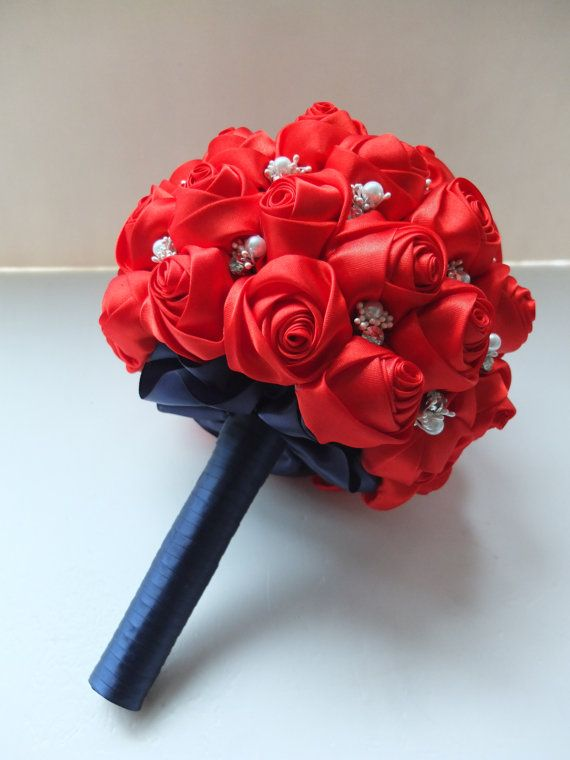 Handmade Satin Rose Bouquet All Red Satin Rose by LoveMimosaFleur