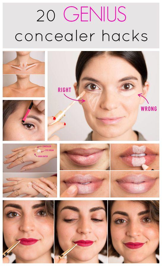 20 genius concealer hacks that'll change your whole makeup routine! http://www.cosmopolitan.co.uk/beauty-hair/makeup/how-to/a31545/concealer-hacks-makeup-tricks/