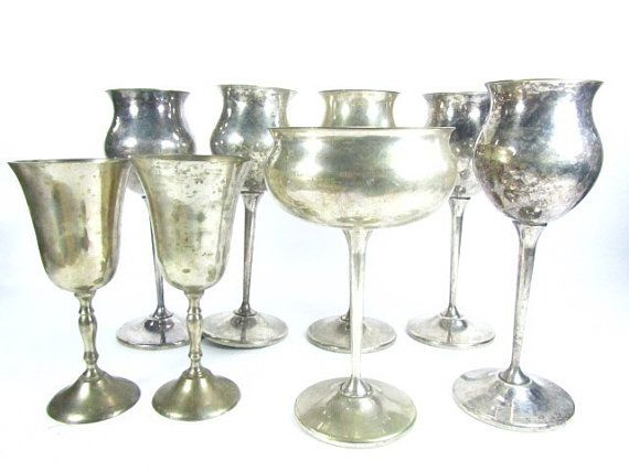 Vintage Silver cupsgobletswine glasses Serving Bowls