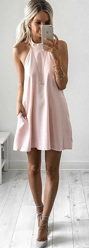 #summer #style |Baby Pink Dress & Gray Shoes | Kirsty Fleming                                                                             Source