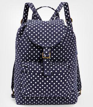 Navy Blue Polka Dot Backpack by Baggu.