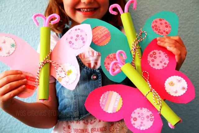 Kindergeburtstag: Schmetterling Geburtstagseinladung   DIY   Einladung selber machen   Fotoanleitung   butterfly birthday invitation tutoria   waseigenes.com