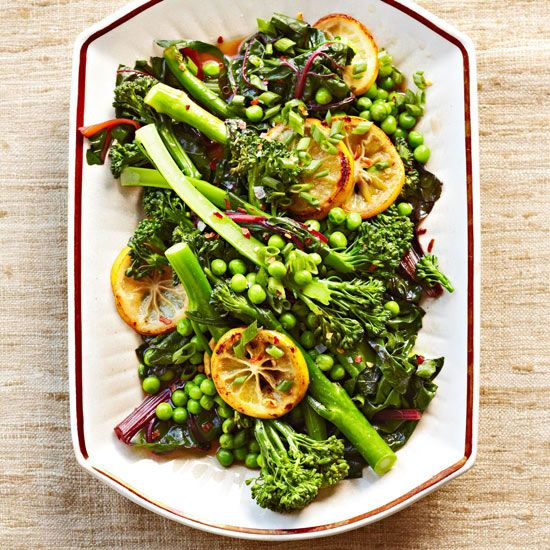 BHGs Newest Recipes:Broccolini with Peas Seared Lemons Recipe