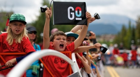 The real scoop on the 2013 Pro Challenge route in #breckenridge #usapro     Photo: Local schoolchildren gather at the USA Pro Cycling Challenge 2012 start in Breckenridge, Colo. Photo by Daniel Dunn     More info: www.BreckProCycling.com  Via @GoBreck