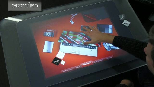 The Razorfish EE team has produced a Surface prototype for Dell to be used in retail stores. The experience allows customers to browse Dell products and then personalize them like never before. This build-to-order concept enables customers to choose various performance configurations, designs, software, media and more.