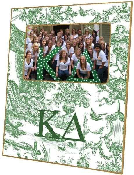 Kappa Delta Green Toile Decoupage Frame from www.wellappointedhouse.com #homedecor #decorate #redecorate #frames #pictureframes