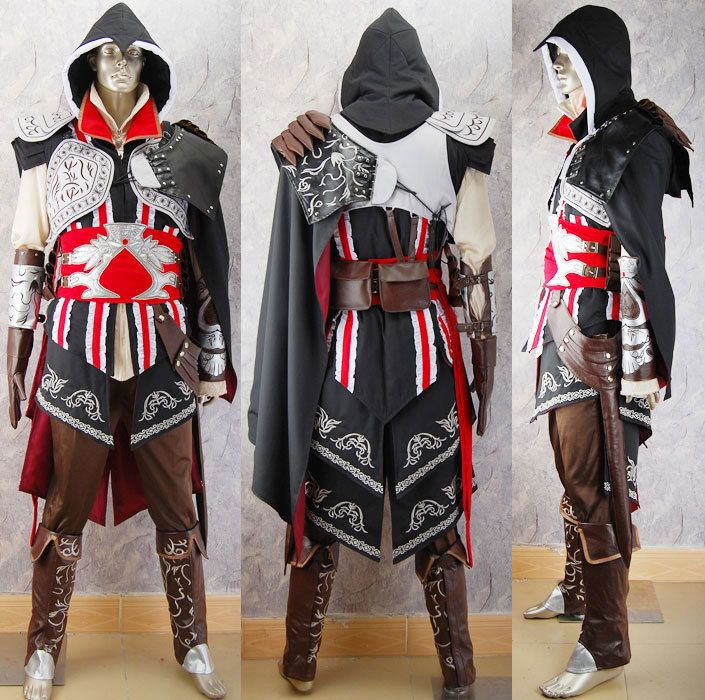 Assassins Creed costume Ezio cosplay costume black edition deluxe unique halloween costume comic-con anime costumes for kids children adults