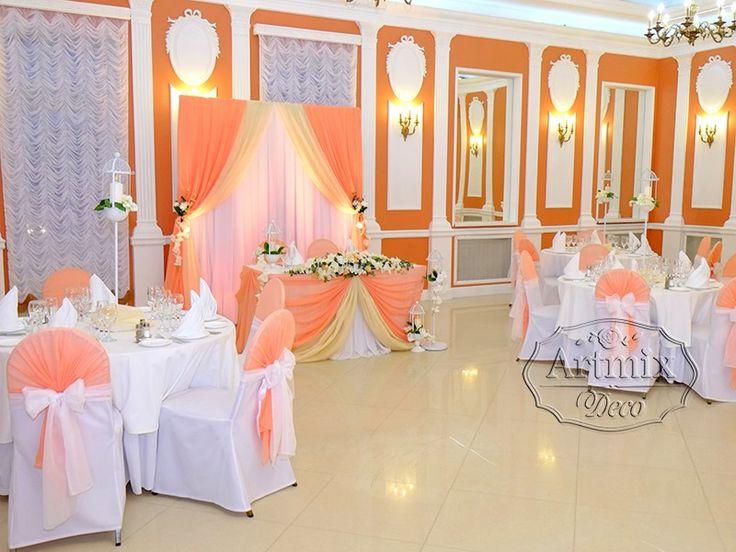 Оформление зала на свадьбу или свадебный декор в персиковом цвете