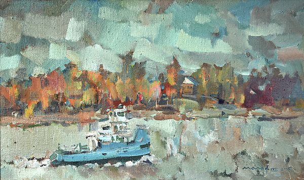 Cityscape Painting - Autumn On The Volga River by Nikolay Malafeev