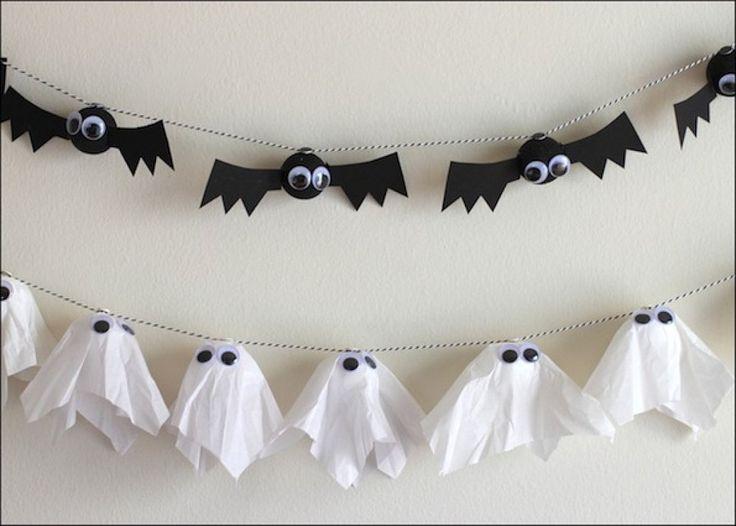 Si quieres decorar tu casa para una fiesta de Halloween o simplemente hacer una manualidad con los niños estas guirnaldas de murciélagos y fantasmas te van a ve