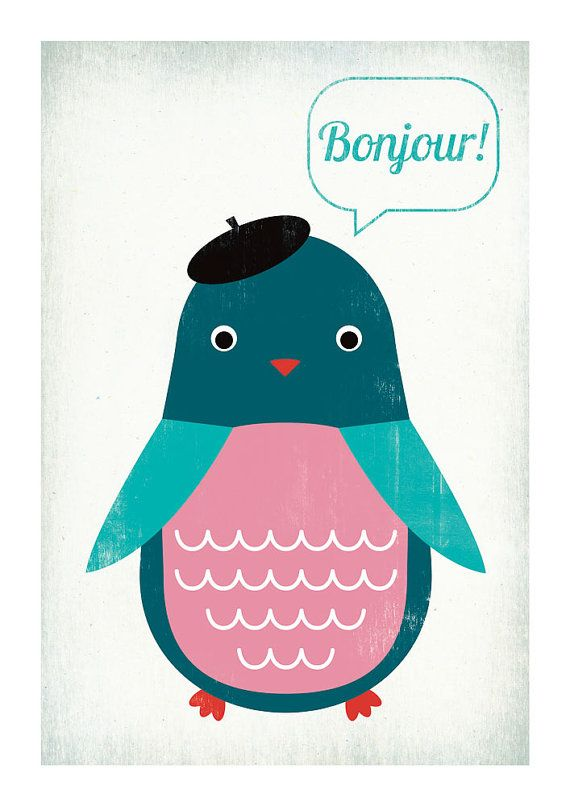 Penguin art print by Leen's.