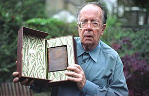 RETURNED: A hand-written copy of the Psalms of David taken from Magdala. Campaigners spotted it in Maggs bookdealers, London, raised £750 to buy it, and sent it back to Addis Ababa in the safe hands of Dr Richard Pankhurst (pictured) in September 2003.