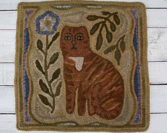 """Primitive Hooked Rug """"Marmalade"""" from  maggiesfarm1846 on etsy"""