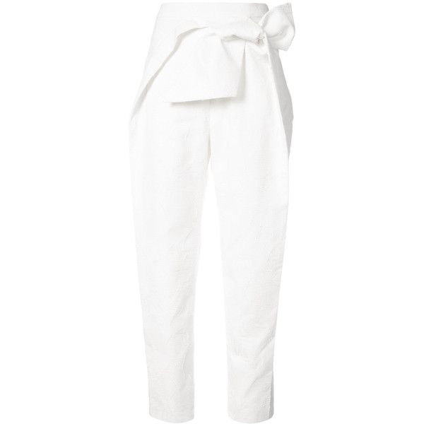 Delpozo bow tie cropped trousers (€1.730) ❤ liked on Polyvore featuring pants, capris, white, cropped pants, white trousers, cropped trousers, cotton crop pants and crop length pants