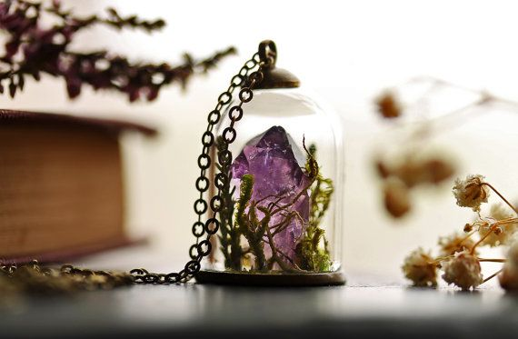 CONTACT ME IF YOU WANT ONE!! SELLING THEM  Terrarium necklace  amethyst crystal February