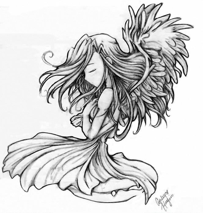 SIMPLE ANGEL TATTOO BY RAMHAY
