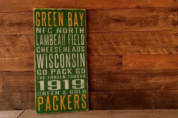 Green Bay Packers Distressed Wood Sign    This Packers Subway Art sign will look great in any fans home...from the den to the game room to the porch,