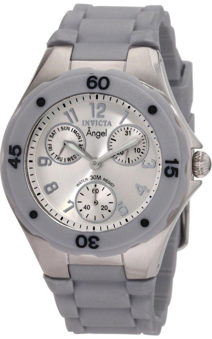 #Invicta #Watch , Invicta Women's 1273 Angel Grey Silicone Silver Dial Watch