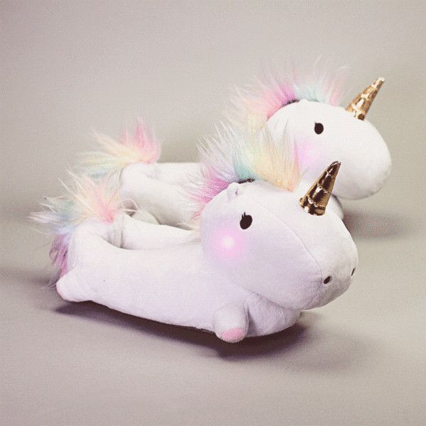 Enchanted Light-Up Unicorn Slippers (1,985 DOP) ❤ liked on Polyvore featuring shoes and slippers