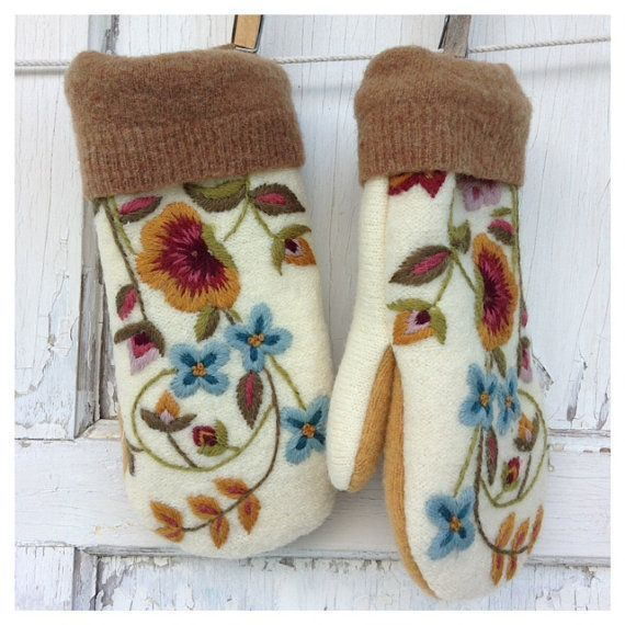 Felted Wool Mittens- Embroidered Floral-Romance-Women-Teen