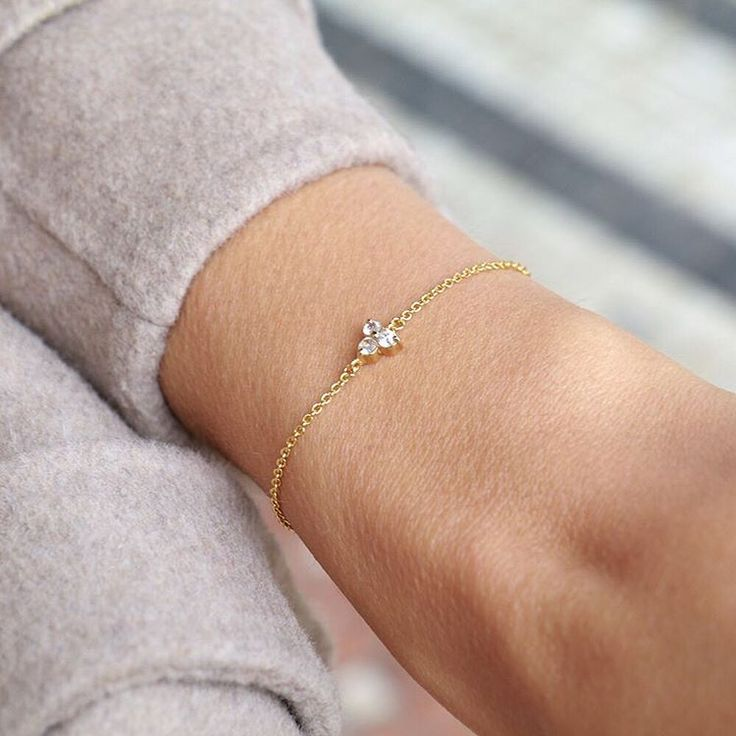 """The """"Lotus bracelet"""" set with white sapphires gives life to our winter wardrobes. Mejuri with @anniejaffrey"""