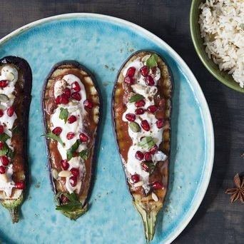 Vegetarische gegrilde aubergines met Original Spices Chinese 5-spices-kruiden, lekker met notenrijst!