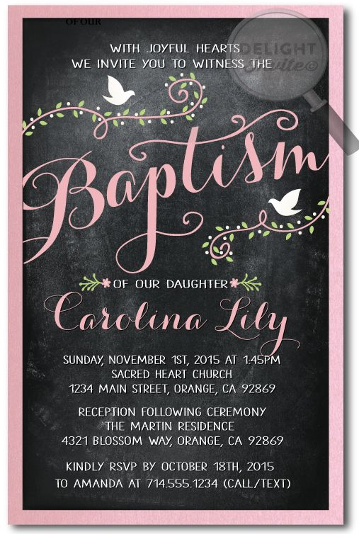 Vintage Chalkboard Baptism Invitations [DI-815] : Custom Invitations and Announcements for all Occasions, by Delight Invite, girl theme baptism christening invitations, christening ideas for girls, baptism invites, professionally printed, 2 piece hand mounted on metallic sparkly card stock, hand made baptism christening invitations for girls