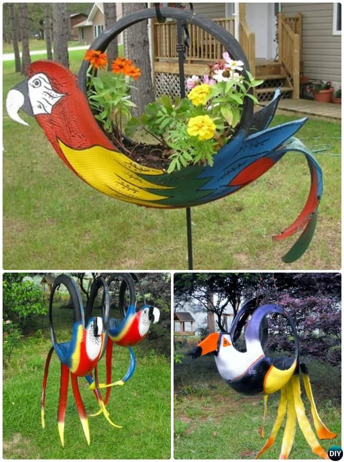 DIY Tire Parrot Planter - DIY Tire Planter Ideas