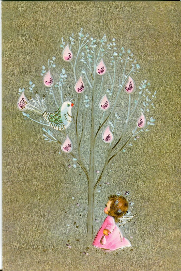 937 best cardschristmas mod images on pinterest vintage vintage sunshine christmas card angel with partridge amp pear tree pink glitter kristyandbryce Gallery