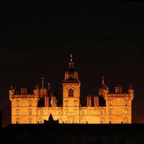 My old school - George Heriot's School lit up at night.
