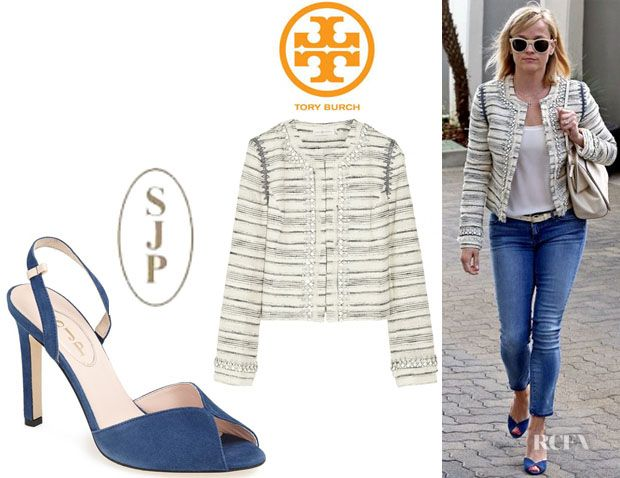 Reese Witherspoon's Tory Burch 'Nicole' Embellished Tweed Jacket And SJP  'Slim' Peep Toe Pumps - Red Carpet Fashion Awards