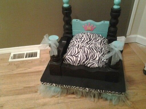 Princess Dog Bed, Made From Old End Table, Teal Blue And Zebra Print.