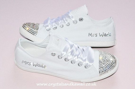 CUSTOM Crystal Wedding Converse White Slim Sole Pumps Flats All Star Bling Sparkly Rhinestone Bride Bridesmaid  So doing this for my wedding