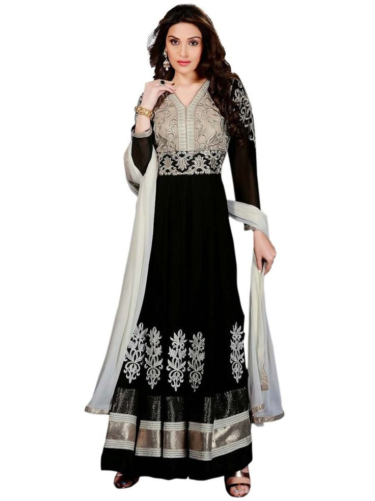 Spectacular #black color #Georgette #Anarkali Suit. Item Code: SLMG502