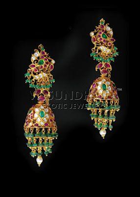 Emerald jhumka from Vasundhara http://www.vasundharaonline.com/Collections