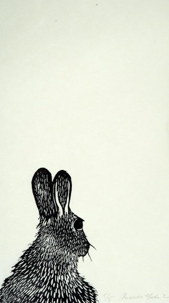 Rabbit lino, Lino printing, bunny, drawing, relief printing, simple, black and white