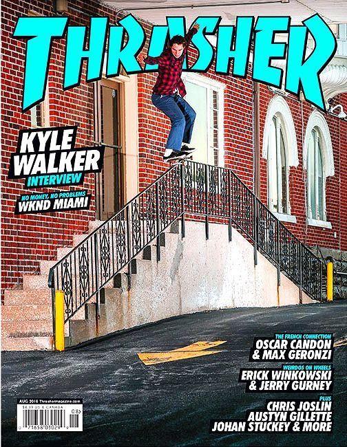 Thrasher Magazine August 2016 KYLE WALKER Cover, WKND Miami, Oscar Candon - NEW