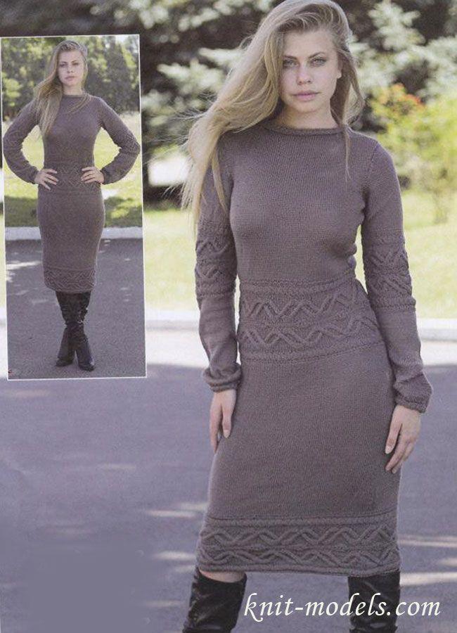 Платье с узорными вставками