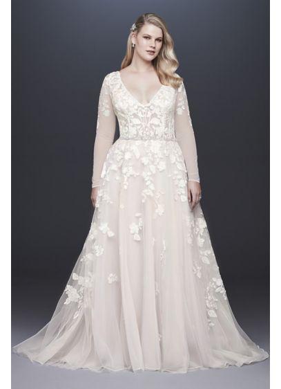 Illusion Sleeve Plunging Plus Size Wedding Dress 9SWG820 1