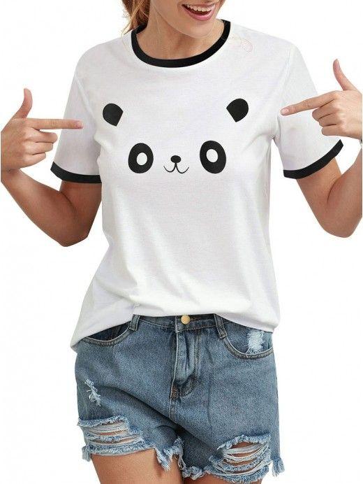 ddacd22e4 Dresswel Women Casual Cute Panda Printed Short Sleeve Shirt Tops T Shirt--11.99  #dresswel #cute #panda #shirt